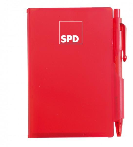 Notizbuch mit Kugelschreiber rot - SPD