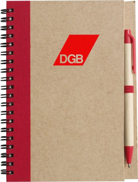 Notizbuch Pappe / Ringbindung rot - DGB