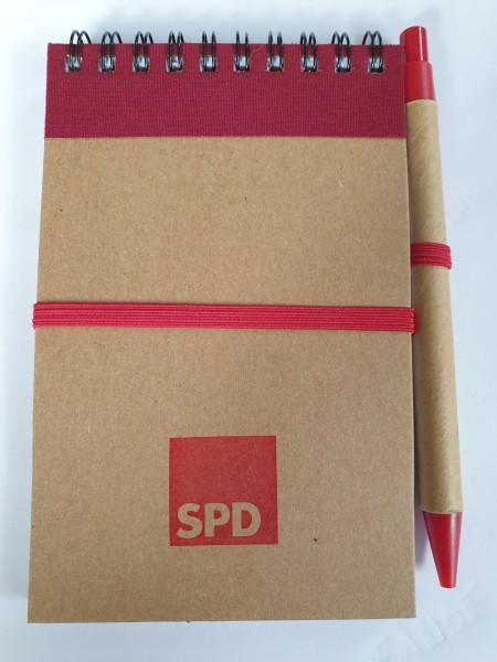 Notizbuch - Karton A6 mit Kuli - SPD