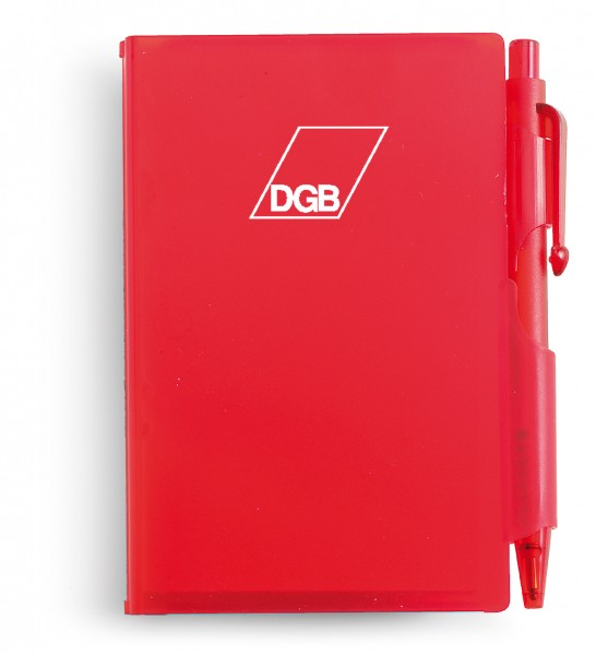 Notizbuch mit Kugelschreiber rot - DGB